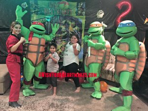 Teenage Mutant Ninja Turtles Leonardo, Raphael, Michelangelo, and trainer Christal showed up to Lemar's 2nd birthday party in Hanford on November 12th!