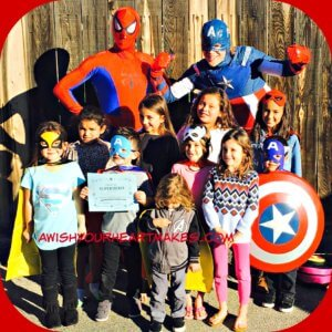 "Spiderman and Captain America swooped into Paso Robles for Ricky's 5th ""Super"" birthday party on January 14th."