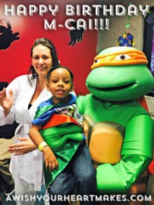 Ninja Turtle Michaelangelo and Turtle Trainer Amaris had a radical time at M-Cai's birthday party on May 6th in Santa Barbara!