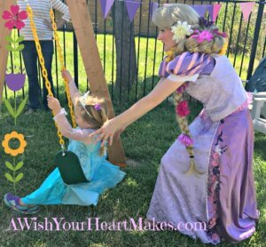 Abby had a special, royal guest at her 3rd birthday party in Atascadero on April 30th. Princess Rapunzel enjoyed singing, dancing, and regaled the birthday girl and her guests with her royal story and face painting!