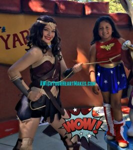 Wonder Woman swooped into Fresno for Emily's 6th birthday on April 30th!