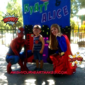 "Spiderman and Supergirl had a ""super fun"" time at a birthday party for Ryatt, age 4, and Alice, age 3, in Fresno on July 2nd."