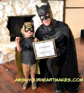 Cooper had a special superhero guest at his 3rd birthday party in Springville on August 19th: Batman!